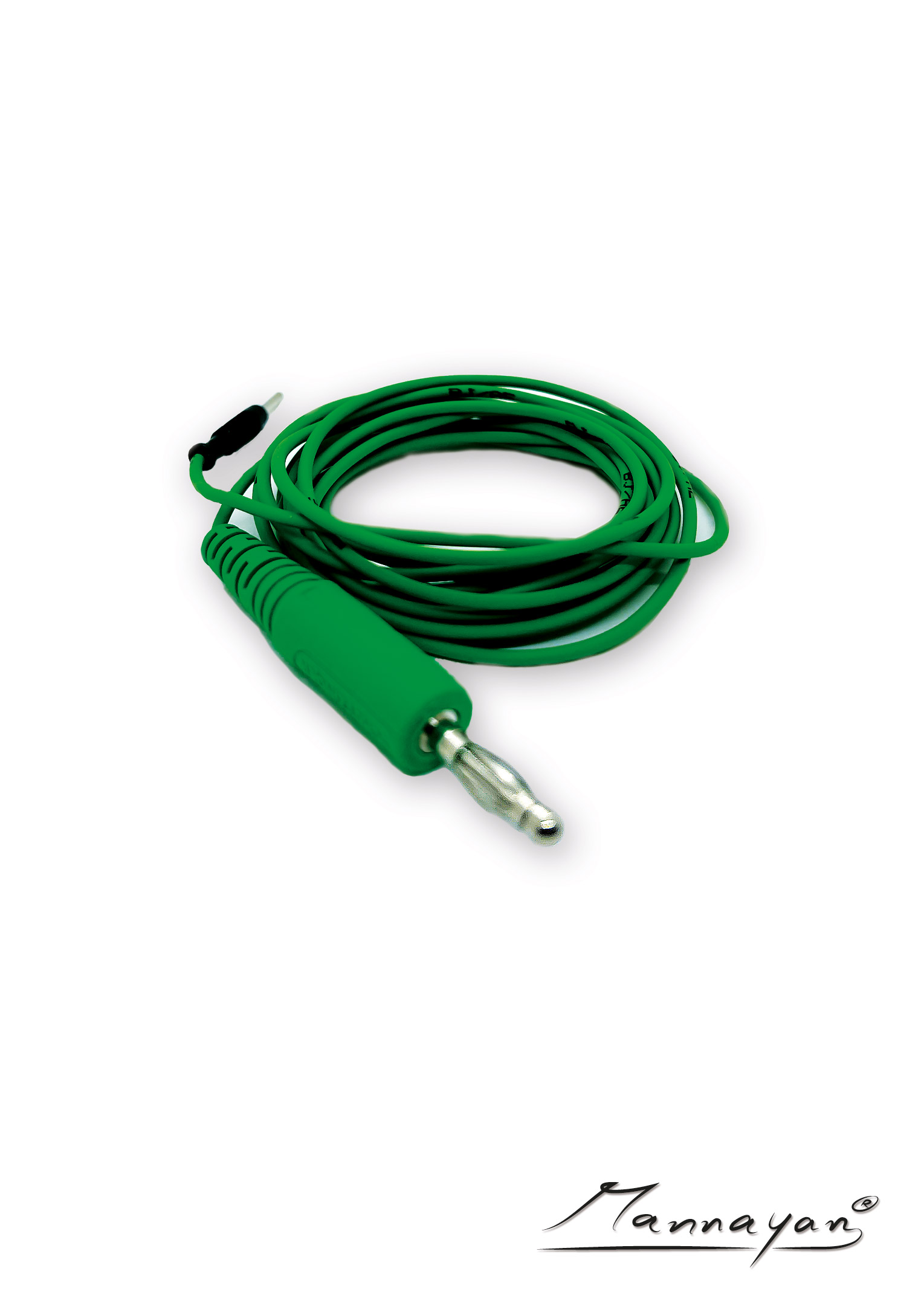 Cable (2,5 m) with connector adapter for textile surface electrodes (green)
